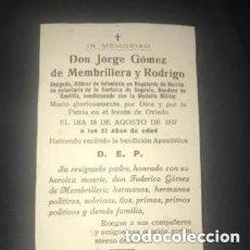 Militaria: ANTIGUA ESQUELA MILITAR ALFÉREZ INFANTERÍA REGULARES MELILLA FRENTE DE OVIEDO 1937 GUERRA CIVIL. Lote 276708968