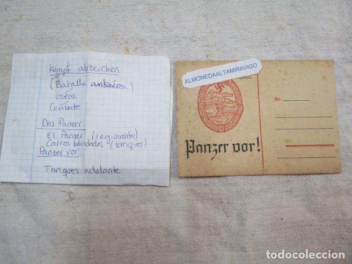 Militaria: TARJETA NAZISMO SEGUNDA GUERRA DIVISION DAS PANZER - KAMPF ABZEICHEN - PANZER VOR 15X11CM +INFO - Foto 2 - 276754593