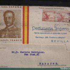 Militaria: PERFUMERÍA IMPERIO . SEVILLA. GUERRA CIVIL.. Lote 277287408