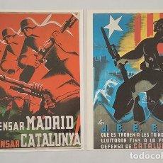Militaria: 2 CARTELES DE LA GUERRA CIVIL ESPAÑOLA PROPAGANDA REPUBLICANA EJERCITO REPUBLICANO. Lote 277748658