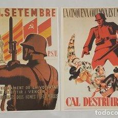 Militaria: 2 CARTELES DE LA GUERRA CIVIL ESPAÑOLA PROPAGANDA REPUBLICANA PSU QUINTA COLUMNA. Lote 277749683