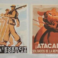 Militaria: 2 CARTELES DE LA GUERRA CIVIL ESPAÑOLA PROPAGANDA REPUBLICANA EJERCITO POPULAR. Lote 277749993
