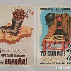 Militaria: 2 CARTELES DE LA GUERRA CIVIL ESPAÑOLA PROPAGANDA FALANGISTA SUBSIDIO AL COMBATIENTE. Lote 277752893