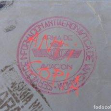 Militaria: RARÍSIMO SELLO SERVICIO DE INFORMACIÓN ANTIAERONAUTICA ARMA AVIACIÓN CENSURA ZARAGOZA GUERRA CIVIL. Lote 277764878