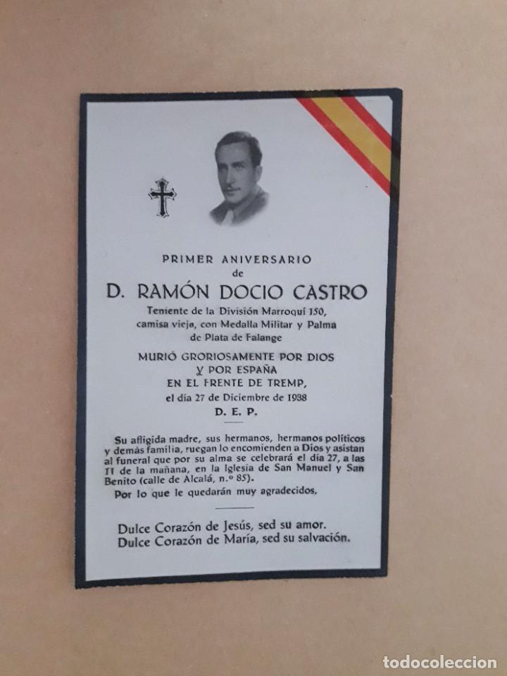ESQUELA TENIENTE DIVISIÓN MARROQUÍ 150 AÑO 1939 (Militar - Propaganda y Documentos)