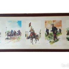 Militaria: IMPRESIONANTE CUADRO 34 X 99 CM CON 5 LAMINAS DE RICARDO SANFELIZ, MARCO DE MADERA Y CRISTAL. Lote 278348703