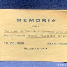 Militaria: MEMORIA VIAJE ITALIA CADETE ORGANIZACION JUVENIL LOGOÑO ALBERTO VENEZUELA ALONSO 1938 14X21CMS. Lote 278397633