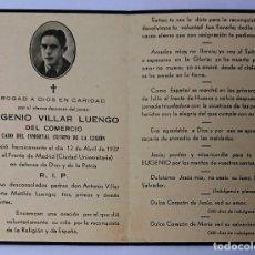 Militaria: ESQUELA CABO DE LA LEGIÓN CIUDAD UNIVERSITARIA 1937. Lote 278564038