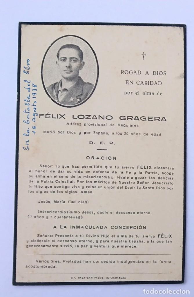 ESQUELA ALFÉREZ PROVISIONAL REGULARES (Militar - Propaganda y Documentos)