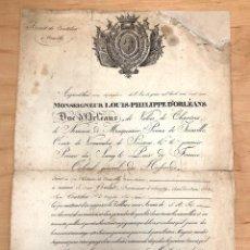 Militaria: FIRMA REAL LUIS FELIPE DE ORLEANS A CORONEL DE HUSARES. AÑO 1828. FIRMA AUTOGRAFA. Lote 279379868