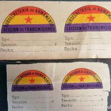 Militaria: GUERRA CIVIL ESPAÑOLA SUBSECRETARIA DE ARMAMENTO TRANSMISIONES AÑO 1936 4 ETIQUETAS ORIGINALES. Lote 279455413
