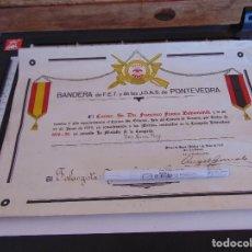 Militaria: DOCUMENTO CONCESION DE LA MEDALLA DE LA CAMPAÑA UNA CRUZ ROJA BANDERA FALANGE PONTEVEDRA FALANGISTA. Lote 279591323