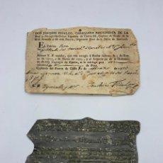 Militaria: CÁDIZ, 1803. PAGO EN PLATA POR TRÁNSITO DE BUQUE CON SELLO DE IMPRENTA. VER FOTOS. Lote 280152083