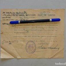 Militaria: SALVOCONDUCTO COMANDANCIA NAVAL DE CANARIAS PARA TRASLADARSE A BENIEL 1941. Lote 280399073
