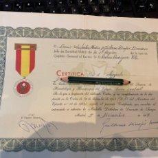 Militaria: CERTIFICADO MEDALLA DONANTE DE SANGRE - EJÉRCITO ESPAÑOL -. Lote 280454073