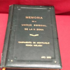 Militaria: MEMORIA DE LA UNIDAD ESPECIAL DE LA II ZONA. Lote 282251608