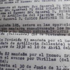 Militaria: GUERRA CIVIL LOTE DOCUMENTACION OFICIAL 81 TERUEL ARTILLERIA DIVISIÓN ESTEBAN INFANTES. Lote 285583038
