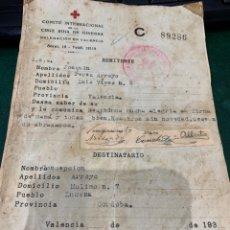 Militaria: DOCUMENTO CRUZ ROJA GUERRA CIVIL - CORREO PARA COMUNICAR A FAMILIA QUE ESTUVIESEN EN BANDOS DIFERENT. Lote 286847743