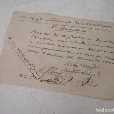 Militaria: 1840, RECIBO MILITAR POR SUMINISTRO DE PAN A BATALLÓN, EN CHELVA, MANUSCRITO, UNOS 16 X 11 CMS.. Lote 287160423