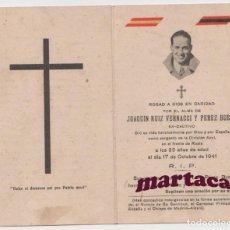 Militaria: RECORDATORIO JOAQUIN RUIZ VERNACCI Y PEREZ BUENO DIVISION AZUL CAIDO EN EL FRENTE DE RUSIA. 1941. Lote 287229893