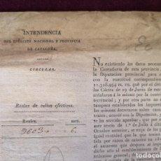 Militaria: 1821, CIRCULAR DE INTENDENCIA DEL EJÉRCITO, AYUNTAMIENTO DE RIPOLL, CONTRIBUCIÓN TERRITORIAL. Lote 287237208
