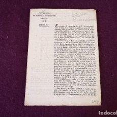 Militaria: 1818, CIRCULAR DE INTENDENCIA DEL EJÉRCITO Y PRINCIPADO DE CATALUÑA, COMUNICANDO REPARTO. Lote 287240158