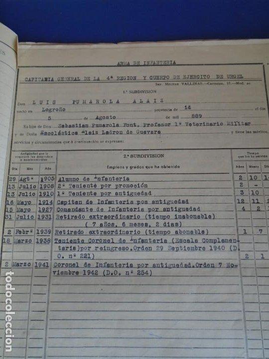 Militaria: (MI-210911) CORONEL D.LUIS PUMAROLA JEFE SER.RETAGUARDIA DIVISION AZUL Y LEGION AZUL DOCUMENTOS - Foto 16 - 287485553