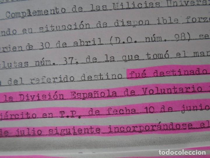 Militaria: (MI-210911) CORONEL D.LUIS PUMAROLA JEFE SER.RETAGUARDIA DIVISION AZUL Y LEGION AZUL DOCUMENTOS - Foto 56 - 287485553