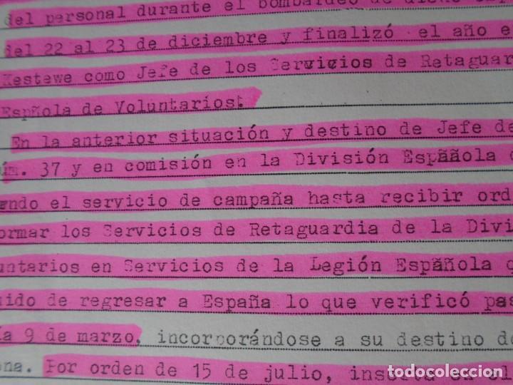 Militaria: (MI-210911) CORONEL D.LUIS PUMAROLA JEFE SER.RETAGUARDIA DIVISION AZUL Y LEGION AZUL DOCUMENTOS - Foto 58 - 287485553