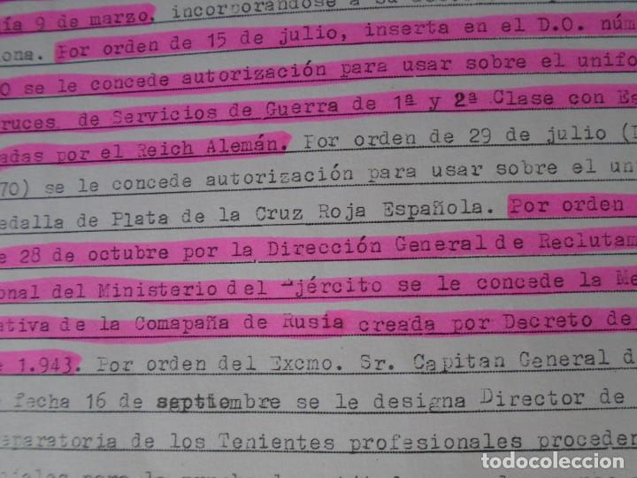 Militaria: (MI-210911) CORONEL D.LUIS PUMAROLA JEFE SER.RETAGUARDIA DIVISION AZUL Y LEGION AZUL DOCUMENTOS - Foto 59 - 287485553