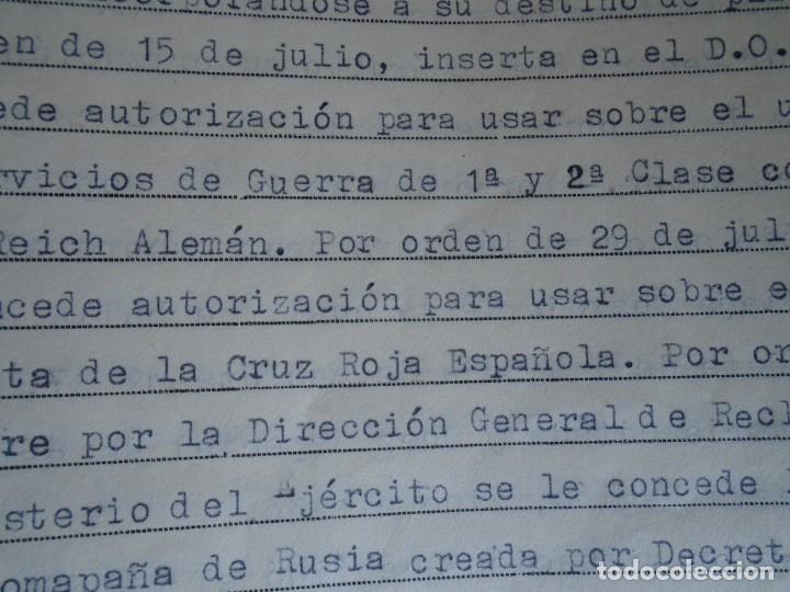 Militaria: (MI-210911) CORONEL D.LUIS PUMAROLA JEFE SER.RETAGUARDIA DIVISION AZUL Y LEGION AZUL DOCUMENTOS - Foto 66 - 287485553