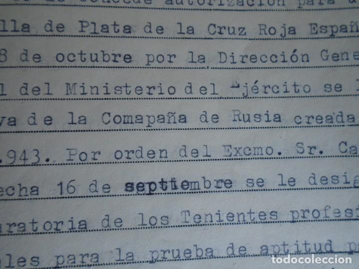 Militaria: (MI-210911) CORONEL D.LUIS PUMAROLA JEFE SER.RETAGUARDIA DIVISION AZUL Y LEGION AZUL DOCUMENTOS - Foto 67 - 287485553