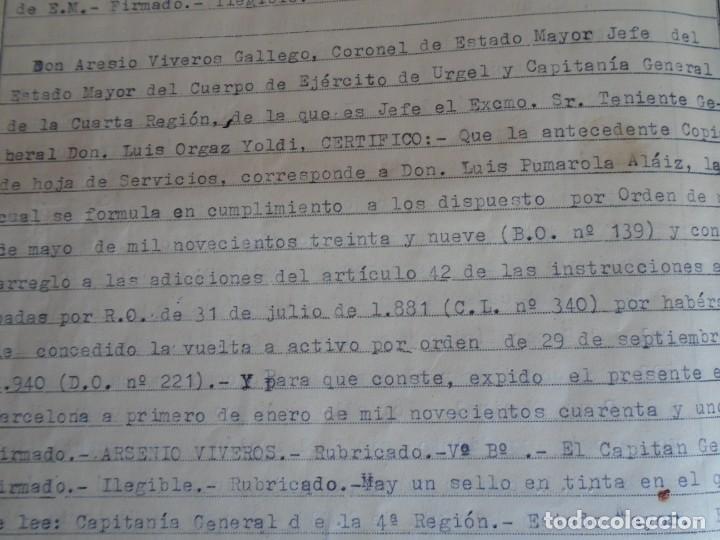 Militaria: (MI-210911) CORONEL D.LUIS PUMAROLA JEFE SER.RETAGUARDIA DIVISION AZUL Y LEGION AZUL DOCUMENTOS - Foto 81 - 287485553