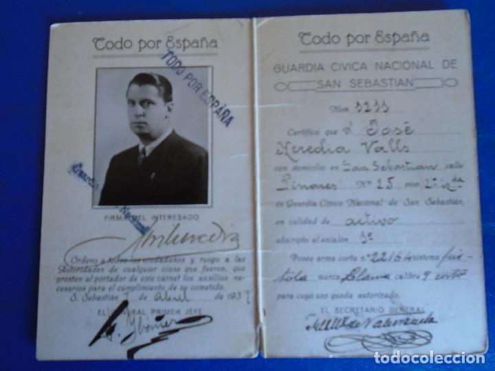 (MI-210913)CARNET GUARDIA CIVICA NACIONAL DE SAN SEBASTIAN - 1-4-1937 - GUERRA CIVIL (Militar - Propaganda y Documentos)
