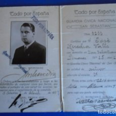 Militaria: (MI-210913)CARNET GUARDIA CIVICA NACIONAL DE SAN SEBASTIAN - 1-4-1937 - GUERRA CIVIL. Lote 287989823