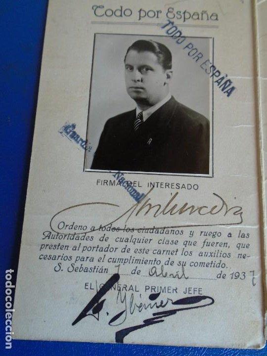 Militaria: (MI-210913)CARNET GUARDIA CIVICA NACIONAL DE SAN SEBASTIAN - 1-4-1937 - GUERRA CIVIL - Foto 2 - 287989823