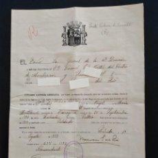 Militaria: LICENCIA ABSOLUTA DEL MINISTERIO DE GUERRA. STA. COLOMA DE QUERALT 1939. Lote 288004768