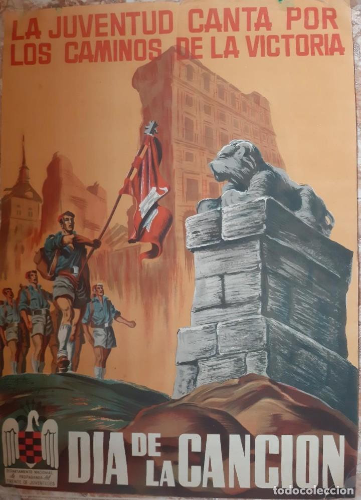 (CAR-210910)CARTEL FRENTE DE JUVENTUDES-DIA DE LA CANCION-ILUSTRADO POR HUETE GIUSEPPE (Militar - Propaganda y Documentos)