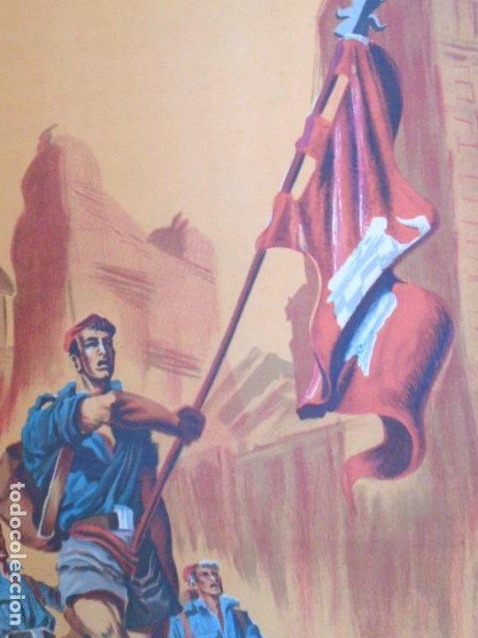 Militaria: (CAR-210910)CARTEL FRENTE DE JUVENTUDES-DIA DE LA CANCION-ILUSTRADO POR HUETE GIUSEPPE - Foto 9 - 288455238