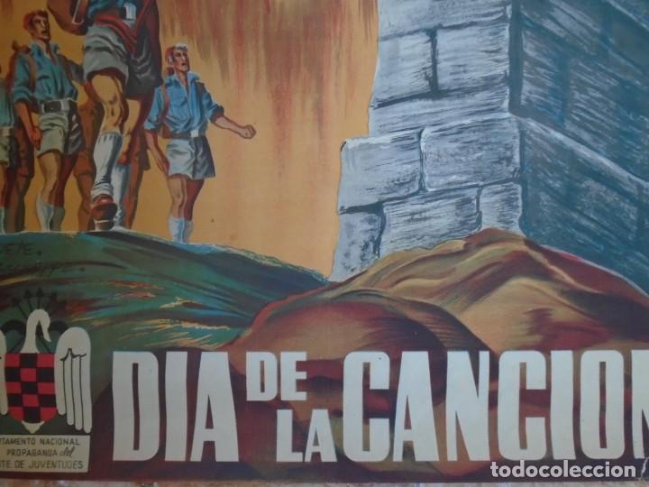 Militaria: (CAR-210910)CARTEL FRENTE DE JUVENTUDES-DIA DE LA CANCION-ILUSTRADO POR HUETE GIUSEPPE - Foto 11 - 288455238