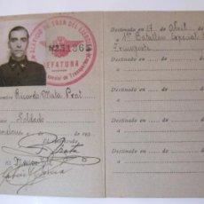 Militaria: GUERRA CIVIL-REPUBLICA-EJERCITO POPULAR-CEDULA MILITAR IDENTIDAD-AÑO 1938-TREN-VER FOTOS-(84.108). Lote 289340923