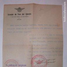 Militaria: GUERRA CIVIL-REPUBLICA-EJERCITO POPULAR-SERVICIO DE TREN DEL EJERCITO-AÑO 1938-VER FOTOS-(84.109). Lote 289341428
