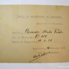 Militaria: GUERRA CIVIL-JUNTA DE TRANSPORTES DE BARCELONA-FEBRERO AÑO 1939-VER FOTOS-(84.111). Lote 289341763