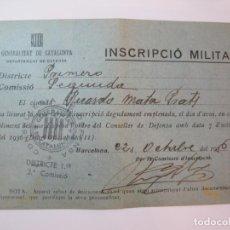 Militaria: GUERRA CIVIL-GENERALITAT CATALUNYA-INSCRIPCIO MILITAR-AÑO 1936-VER FOTOS-(84.112). Lote 289341938