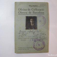 Militaria: GUERRA CIVIL-OFICINA DE COL·LOCACIO OBRERA DE BARCELONA-CON SELLO-AÑO 1936-VER FOTOS-(84.114). Lote 289342538
