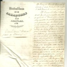 Militaria: 4195.-PRATS DEL LLUÇANES-BATALLON DE CAZADORES DE ARAPILES-TRABUCAIRES-PROHIBICION DE DAR CABALLOS. Lote 291580373