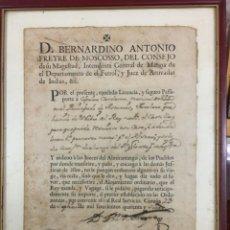 Militaria: DOCUMENTO AÑO 1747 D.BERNANDINO ANTONIO FREYRE INTENDENTE GENERAL MARINA DE FERROL. Lote 293449303