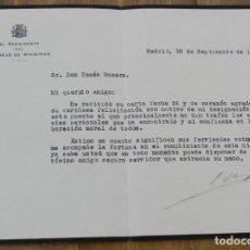 Militaria: CARTA DE JOAQUÍN CHAPAPRIETA TORREGROSA, PRESIDENTE DEL CONSEJO DE MINISTROS 30 DE SEPTIEMBRE DE 193. Lote 293736788