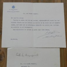 Militaria: CARTA DE JOAQUÍN CHAPAPRIETA TORREGROSA, PRESIDENTE DEL CONSEJO DE MINISTROS 21 DE NOVIEMBRE DE 1935. Lote 293737623