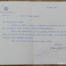 Militaria: CARTA DE CÁNDIDO CASANUEVA Y GORJÓN MINISTRO DE JUSTICIA 14 DE MAYO 1935, CON FIRMA MANUSCRITA, MIDE. Lote 293737973